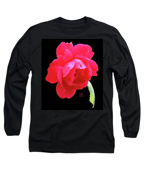 Red Rose Cutout Long Sleeve T-Shirt