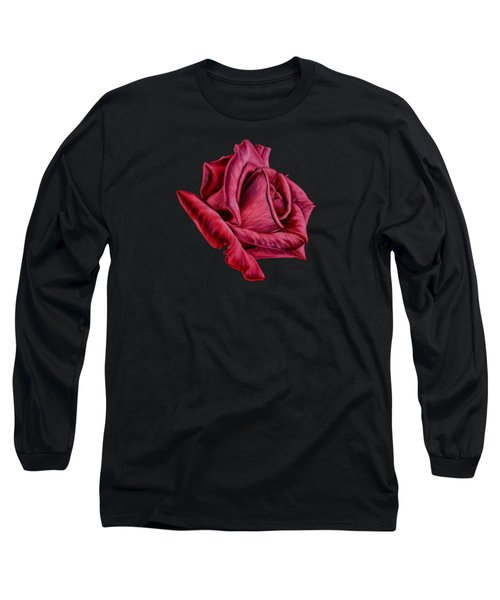 Red Rose On Black Long Sleeve T-Shirt by Sarah Batalka