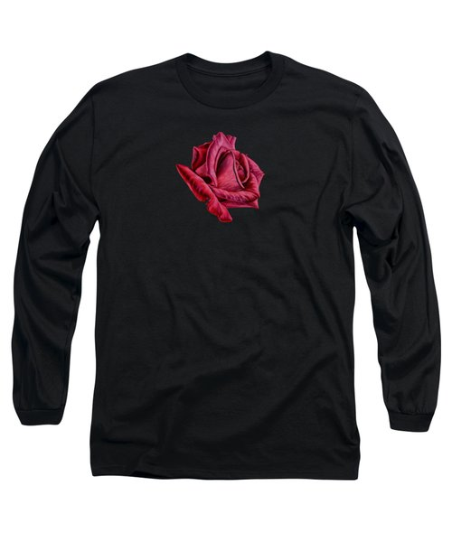 Red Rose On Black Long Sleeve T-Shirt