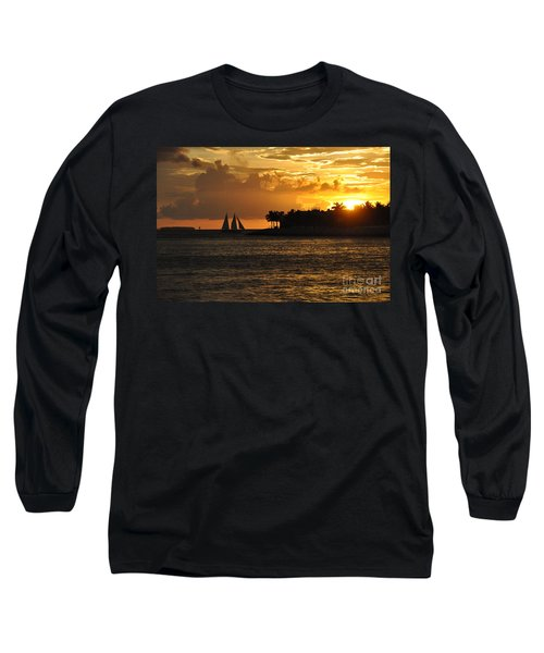 Long Sleeve T-Shirt featuring the photograph Red Sails At Night by John Black