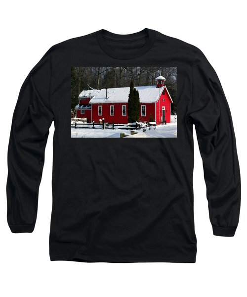 Red Schoolhouse At Christmas Long Sleeve T-Shirt by Desiree Paquette