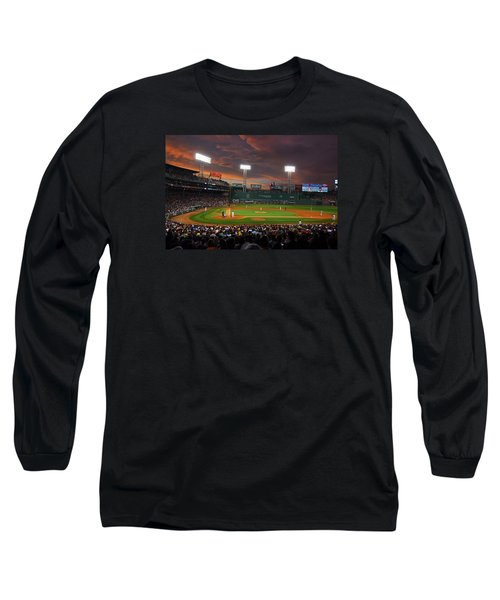 Red Sky Over Fenway Park Long Sleeve T-Shirt
