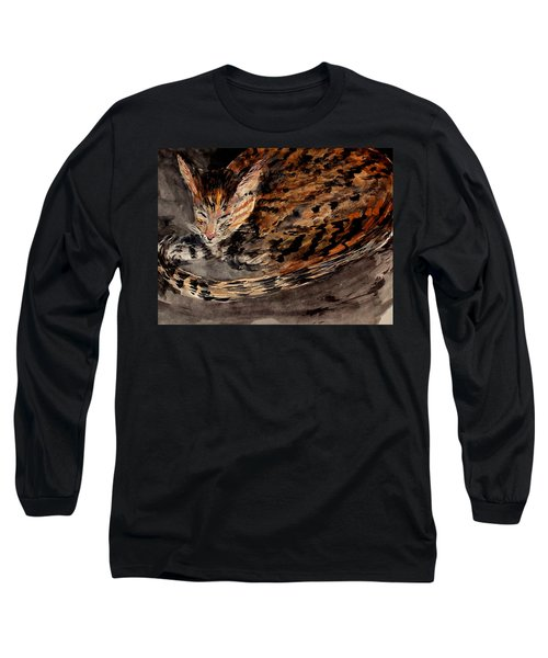 Red Spot Tabby Long Sleeve T-Shirt by Nancy Kane Chapman