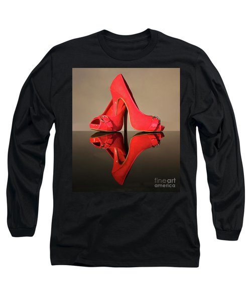 Long Sleeve T-Shirt featuring the photograph Red Stiletto Shoes by Terri Waters