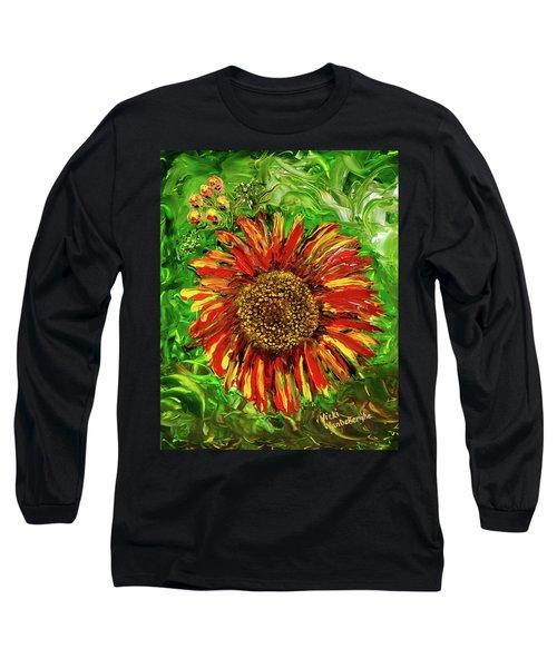 Red Sunflower Long Sleeve T-Shirt