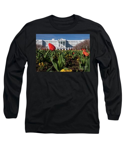 Red Tulip At The Greenbrier Long Sleeve T-Shirt by Laurinda Bowling