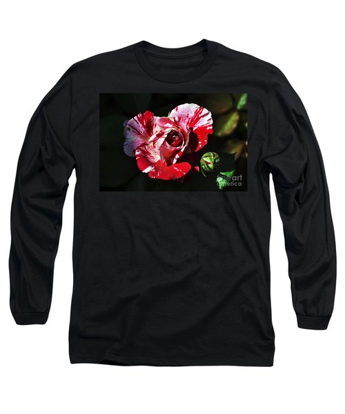 Red Verigated Rose Long Sleeve T-Shirt