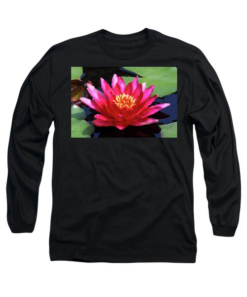 Red Water Lily - Palette Knife Long Sleeve T-Shirt