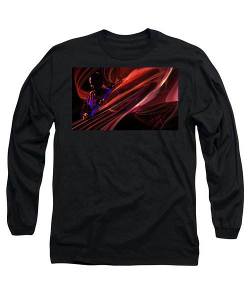 Red Waves Of Blues Long Sleeve T-Shirt