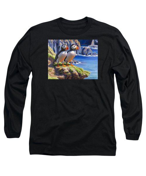 Long Sleeve T-Shirt featuring the painting Reflecting - Horned Puffins - Coastal Alaska Landscape by Karen Whitworth
