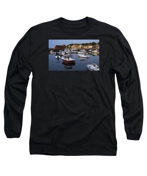 Reflection At Rockport Harbor Long Sleeve T-Shirt