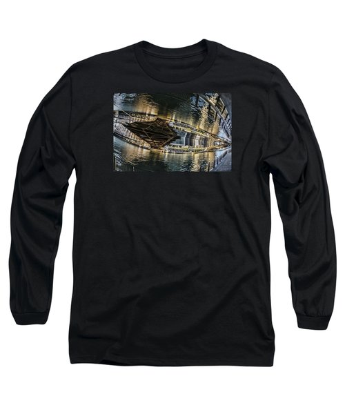 reflection fisheye on the Chicago River Long Sleeve T-Shirt