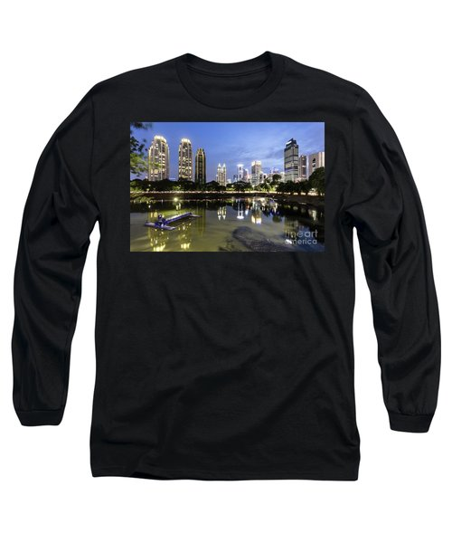 Reflection Of Jakarta Business District Skyline During Blue Hour Long Sleeve T-Shirt