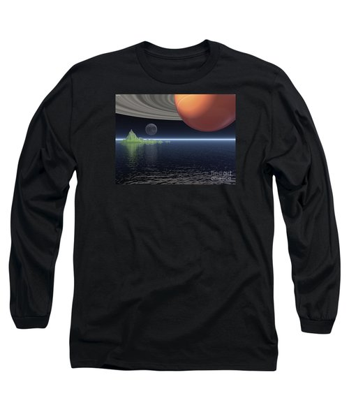 Long Sleeve T-Shirt featuring the digital art Reflections Of Saturn by Phil Perkins