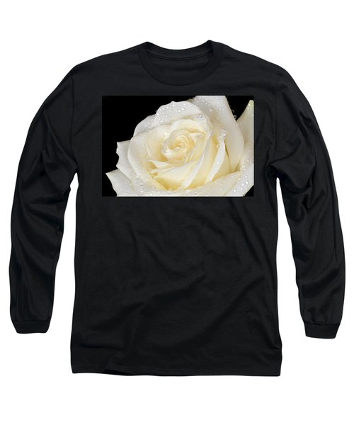 Refreshing Ivory Rose Long Sleeve T-Shirt by Terence Davis