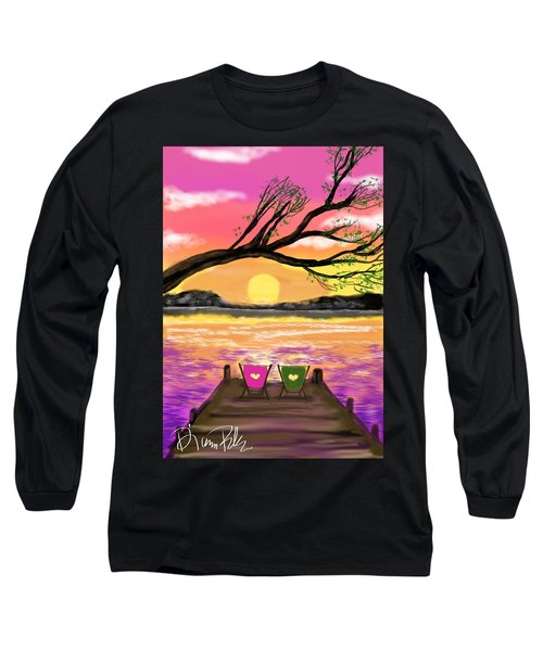 Long Sleeve T-Shirt featuring the digital art Relaxing On The Dock by Diana Riukas
