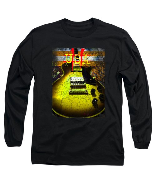 Long Sleeve T-Shirt featuring the photograph Relic Guitar Music Patriotic Usa Flag by Guitar Wacky