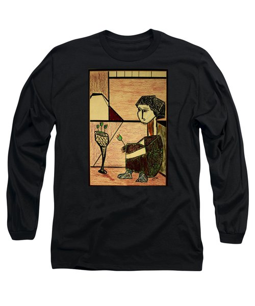 Long Sleeve T-Shirt featuring the drawing Remembering by Bill OConnor