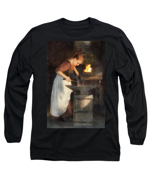 Renaissance Lady Blacksmith Long Sleeve T-Shirt by Francesa Miller