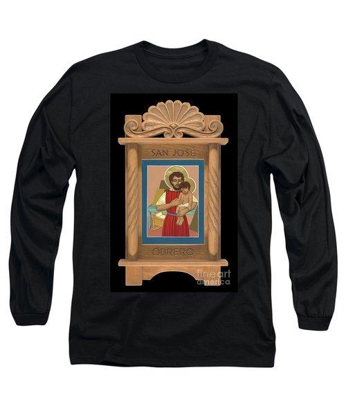 Long Sleeve T-Shirt featuring the painting Retablo De San Jose Obrero by William Hart McNichols