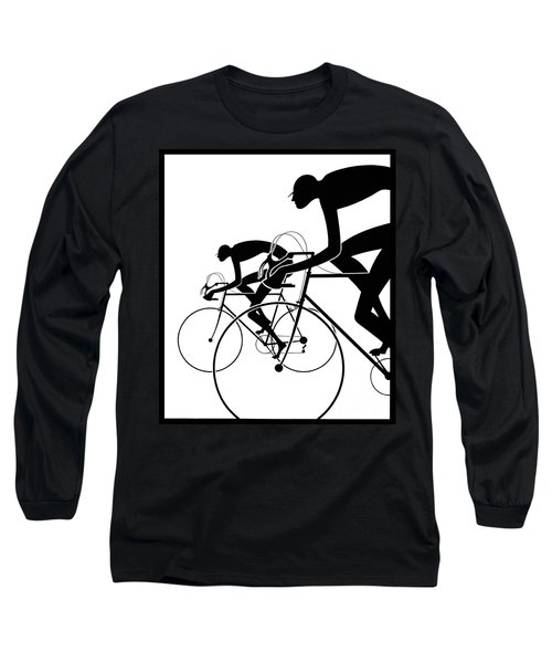 Long Sleeve T-Shirt featuring the photograph Retro Bicycle Silhouettes 2 1986 by Padre Art