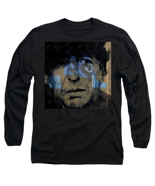 Long Sleeve T-Shirt featuring the painting Retro- Famous Blue Raincoat  by Paul Lovering