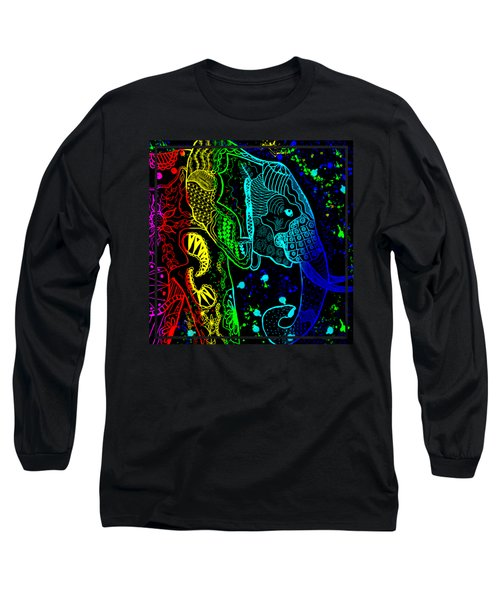 Rainbow Zentangle Elephant With Black Background Long Sleeve T-Shirt