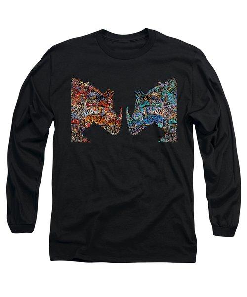 Long Sleeve T-Shirt featuring the mixed media Rhino Love Organica by Carol Cavalaris