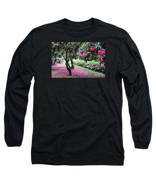 Long Sleeve T-Shirt featuring the photograph Rhododendrons Blooming Villa Carlotta Italy by Tanya Searcy