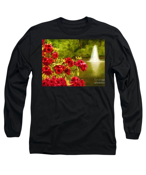 Painted Rhododendrons Fountain In Pond   Long Sleeve T-Shirt