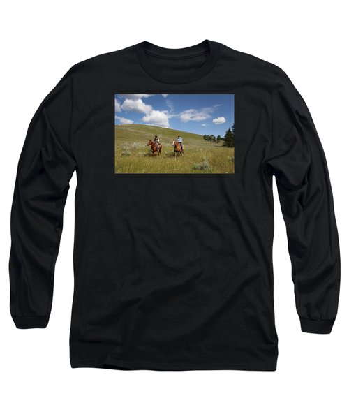 Riding Fences Long Sleeve T-Shirt by Diane Bohna