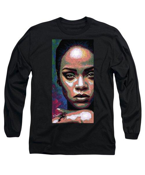 Rihanna Long Sleeve T-Shirt by Maria Arango