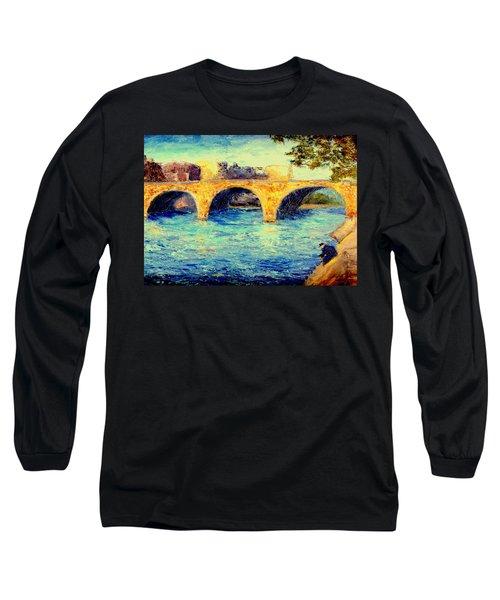 River Seine Bridge Long Sleeve T-Shirt by Gail Kirtz