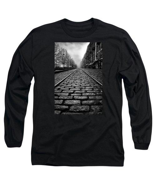 River Street Railway - Black And White Long Sleeve T-Shirt by Renee Sullivan