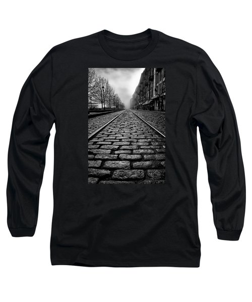 River Street Railway - Black And White Long Sleeve T-Shirt
