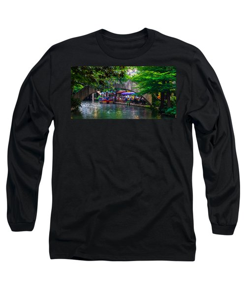 River Walk Dining Long Sleeve T-Shirt by Ed Gleichman