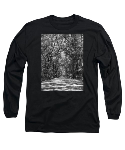 Road To Angel Oak Grayscale Long Sleeve T-Shirt by Jennifer White