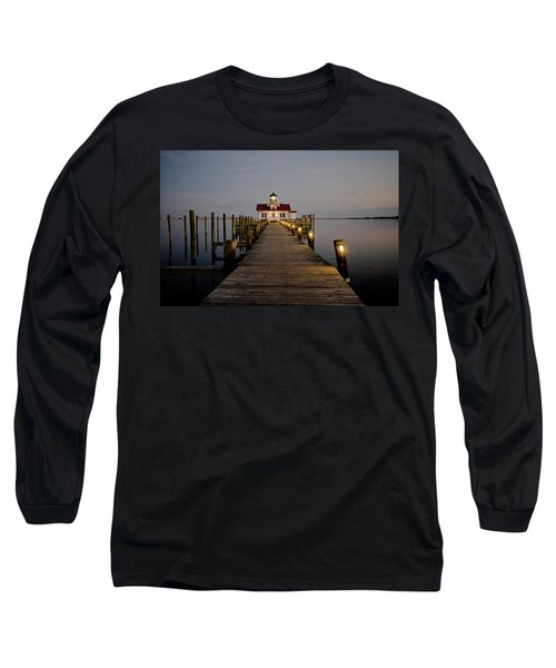 Roanoke Marshes Lighthouse Long Sleeve T-Shirt by David Sutton