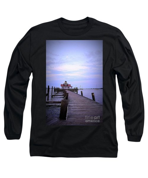 Full Moon Over Roanoke Marshes Lighthouse Long Sleeve T-Shirt by Shelia Kempf