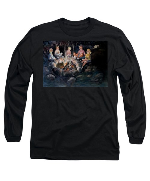 Long Sleeve T-Shirt featuring the painting Roasting Marshmallows by Marilyn Jacobson