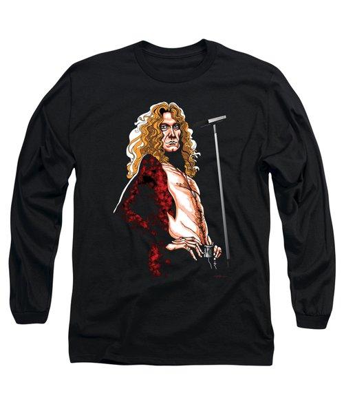 Robert Plant Of Led Zeppelin Long Sleeve T-Shirt by GOP Art