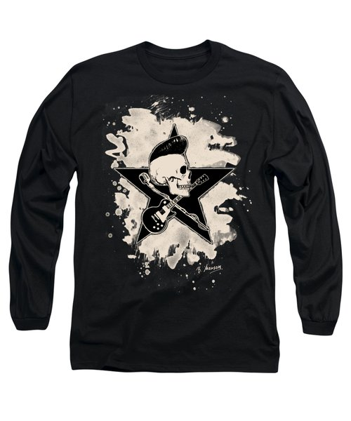 Rock-n-roll Skull - Bleached Long Sleeve T-Shirt