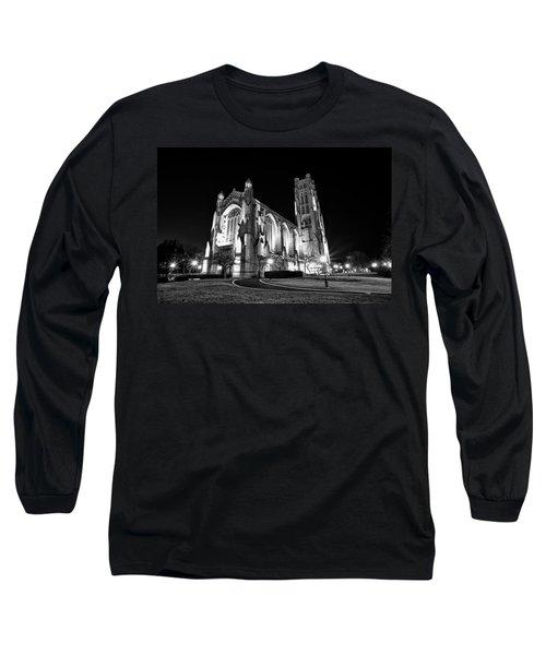 Rockefeller Chapel - B And W Long Sleeve T-Shirt by CJ Schmit