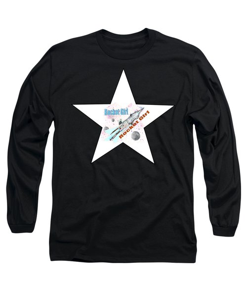Rocket Girl With Star Long Sleeve T-Shirt by Tom Conway