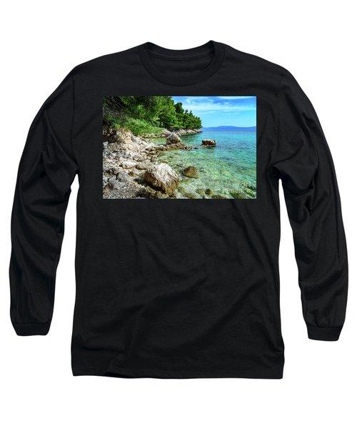 Rocky Beach On The Dalmatian Coast, Dalmatia, Croatia Long Sleeve T-Shirt