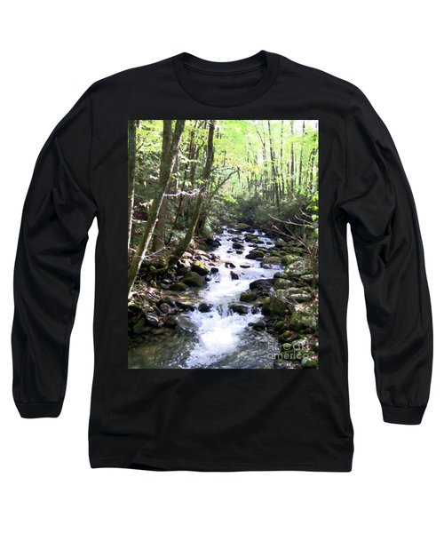 Long Sleeve T-Shirt featuring the mixed media Rocky Stream 6 by Desiree Paquette