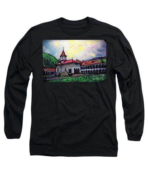 Romanian Monastery Long Sleeve T-Shirt by Sarah Loft