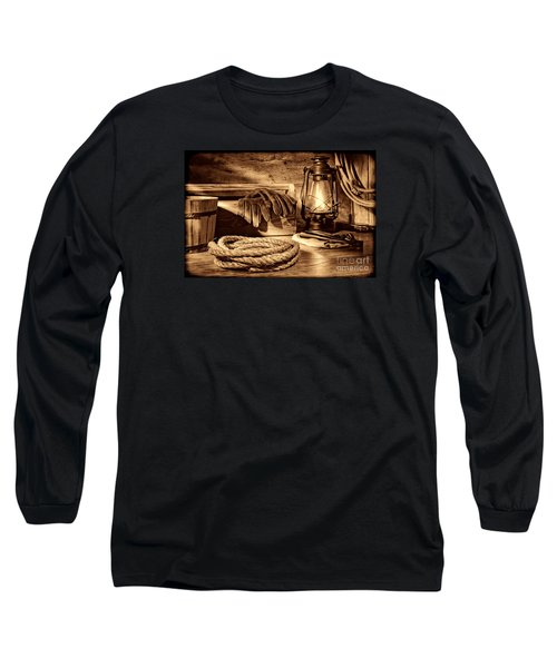 Rope And Tools In A Barn Long Sleeve T-Shirt by American West Legend By Olivier Le Queinec