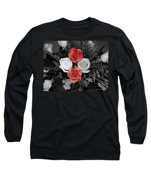 Rose Bouquet Long Sleeve T-Shirt by DigiArt Diaries by Vicky B Fuller