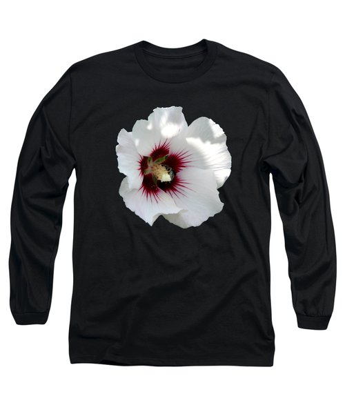 Rose Of Sharon Flower And Bumble Bee Long Sleeve T-Shirt by Rose Santuci-Sofranko
